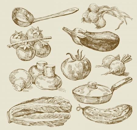 hand drawn: food background