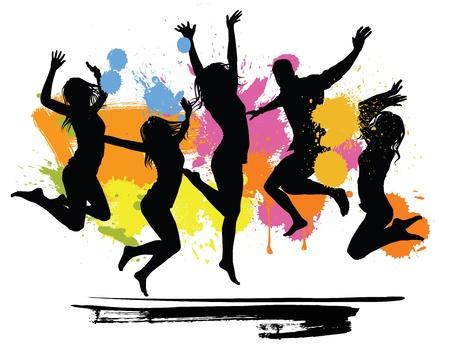 persona saltando: los pueblos de salto Vectores