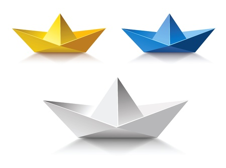 business symbols and metaphors: Three Color Paper boat
