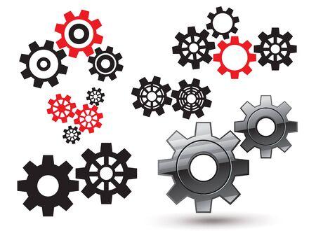 gearwheel: gears and cogwheel set Illustration
