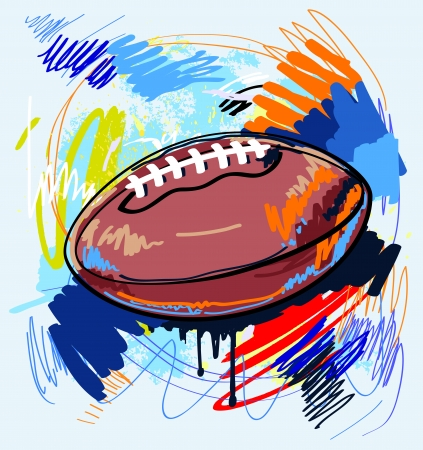 inflated: american football on color background Illustration