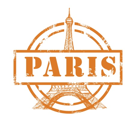 stamp with Eiffel Tower Vector
