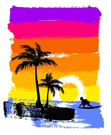 palm trees silhouette: surf in ocean
