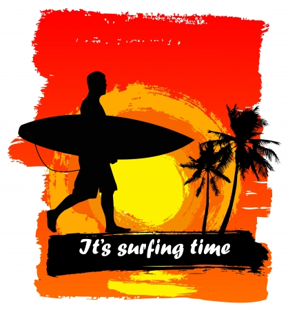 surf silhouettes: Tropical paradise