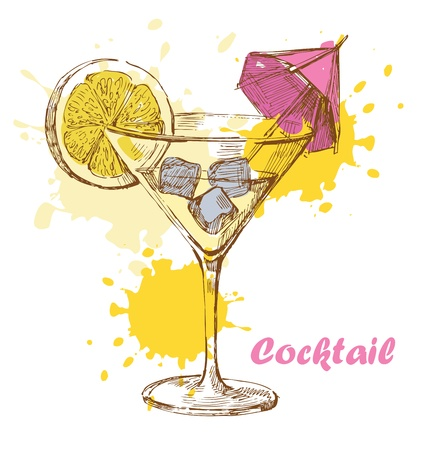 hand draw cocktail Vector