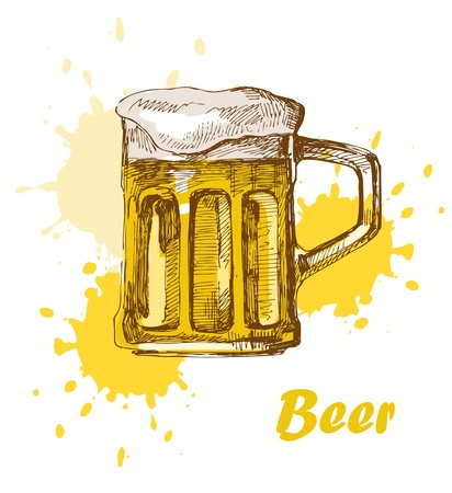 hand draw beer Vector