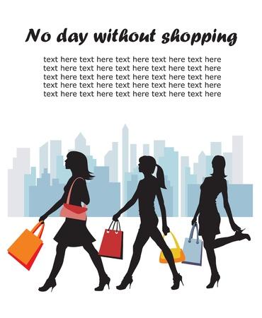 woman walk: Shopping girls. City background.   illustration.