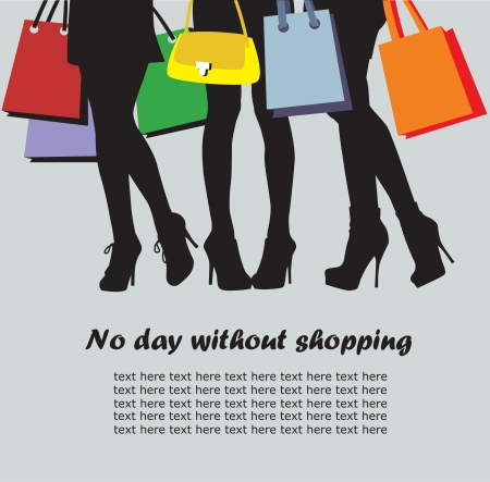 shopping center: women and bags,   image of shopping time Illustration