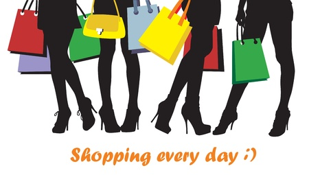 retail place: women and bags, image of shopping time