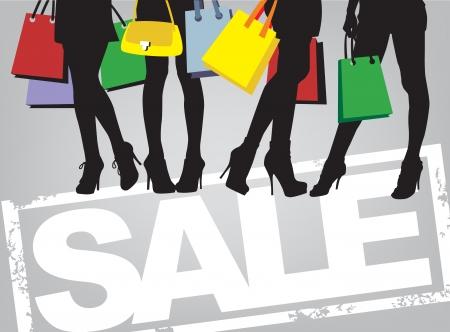 filles shopping: les femmes et les sacs, image vectorielle de temps de magasinage
