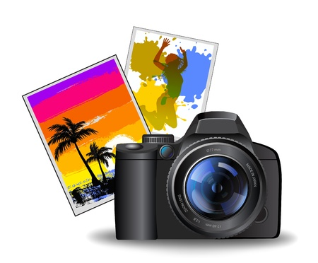 photo camera illustration with photos Vector
