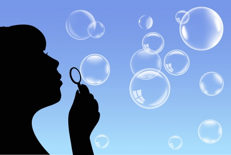 blowing bubbles:   Girl and Bubbles