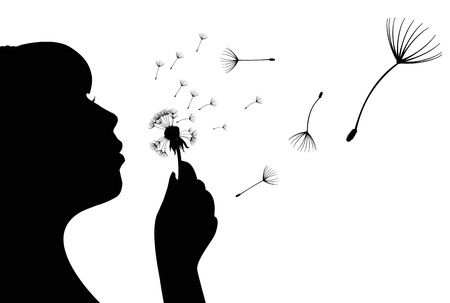 dandelion wind: Vector illustration of silhouette of a girl