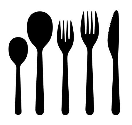 stainless steel kitchen: knife, fork spoon Illustration