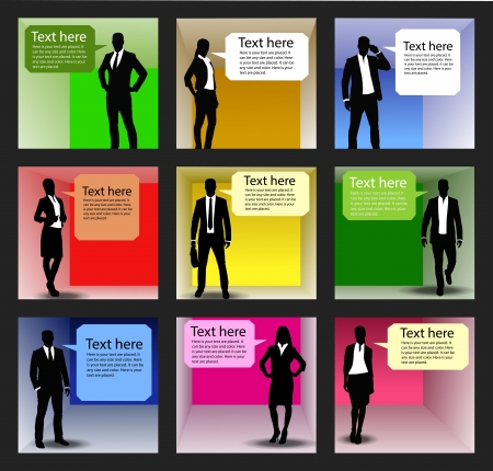 conversing: business people team with speech bubbles-vector