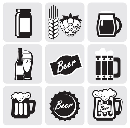 beer mugs: beer icons Illustration