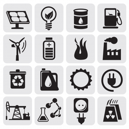 hazardous material: Eco icons for clean energy