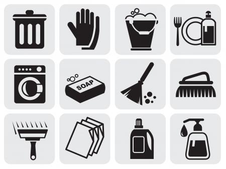 Ikony czyszczące Ilustracje wektorowe