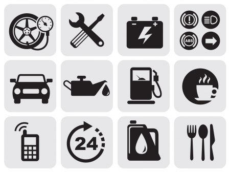 gasolinera: iconos de automóviles