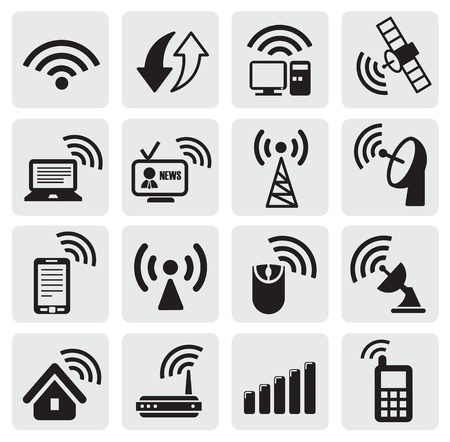 wireless tower: technology icons