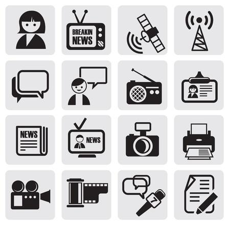 reportero: Iconos del reportero de configurar Vectores