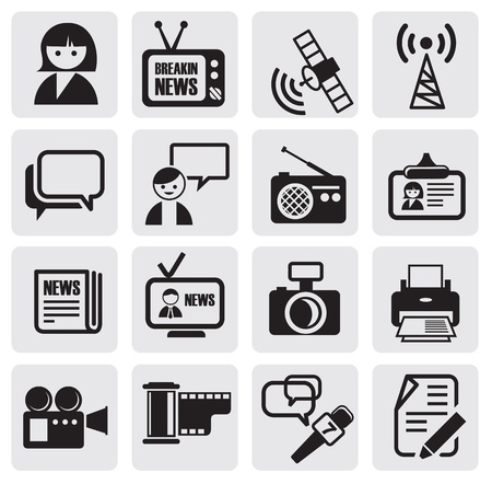 newspaper articles: Reporter icons set