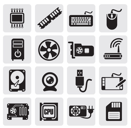 computer cpu: Computer icons set