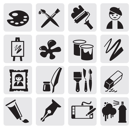 Icons set arts Vector