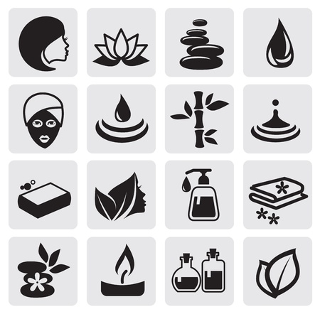 massage stones: Spa icons set