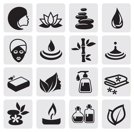 spa stone: Spa-Icons Illustration