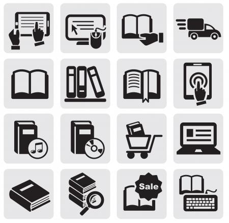 bibliotecas: Libros iconos Vectores