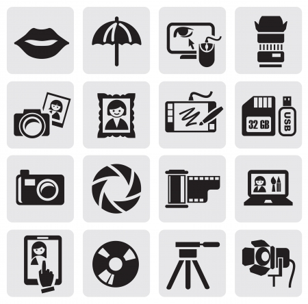 dslr camera: iconos de foto Vectores