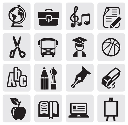 papeteria: Zestaw ikon szkoły Ilustracja