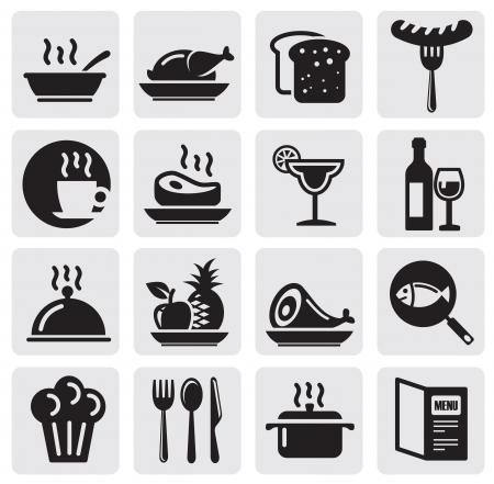 cesta de frutas: Iconos establece restaurante