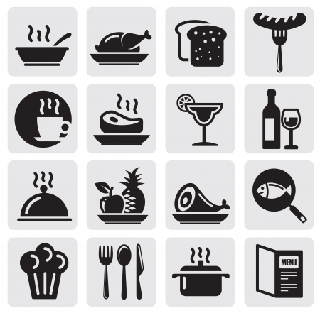 food and wine: Icons set Restaurant Illustration