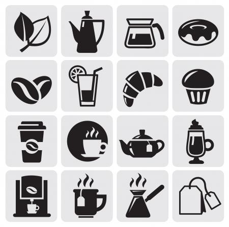 gateau: caff� icone Vettoriali