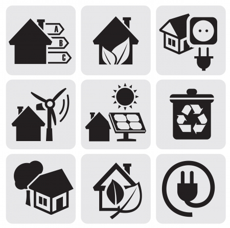zonnepanelen huis: Vector eco huis iconen in te stellen. Stock Illustratie
