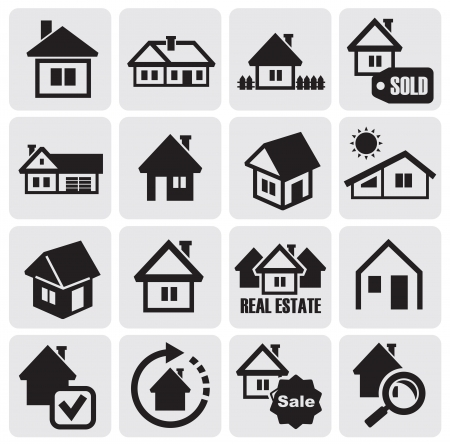 suburbs: Vector black houses icons set. Real estate