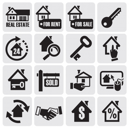 valuation: vector black real estate icons.