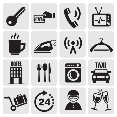 auto washing: Hotel and rest icons set