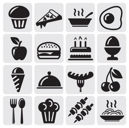 piktogram: Ikony żywności Ilustracja