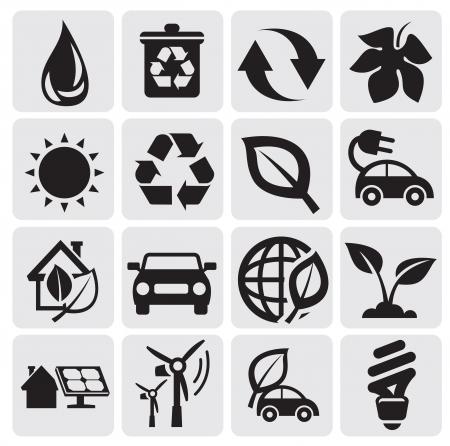 car leaf: eco energy icons
