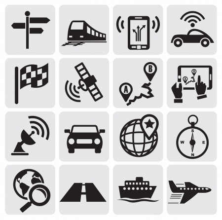 gps navigator: navigation icons Illustration