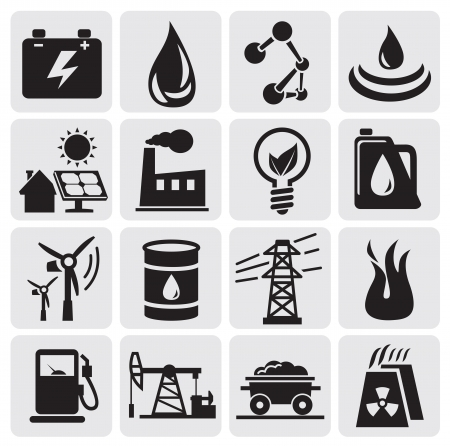 oil lamp: energy and power icons