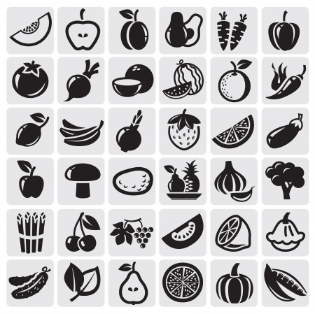 at icon: Fruit and Vegetables set