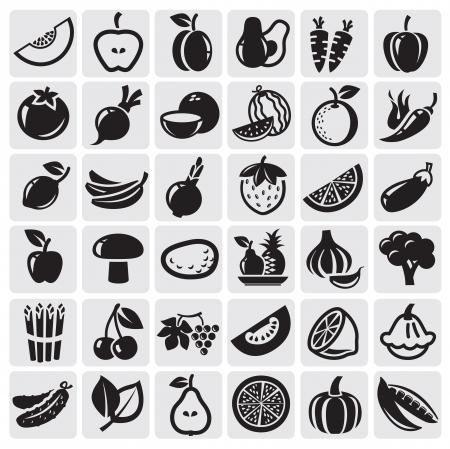 Frutas y Verduras conjunto Ilustración de vector