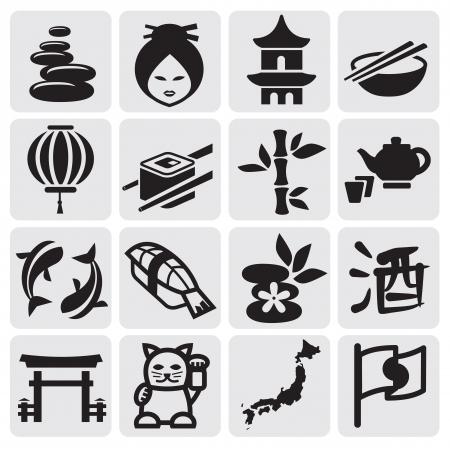 日本料理: 日本のアイコン セット  イラスト・ベクター素材