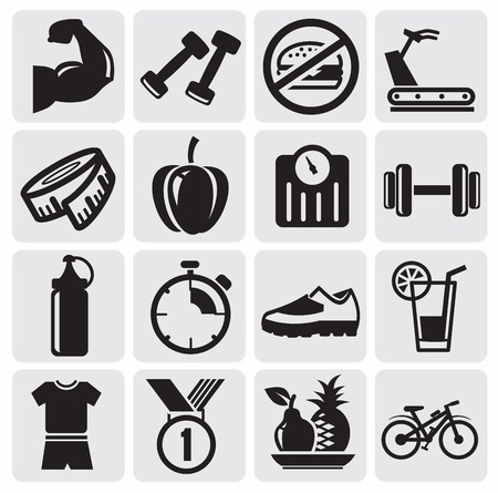 fitness icons Stock Vector - 14697465