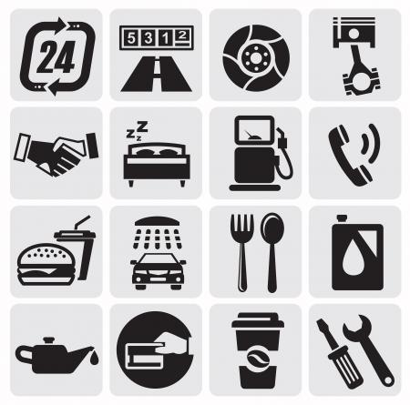 gasoline station: Auto Car icone Vettoriali