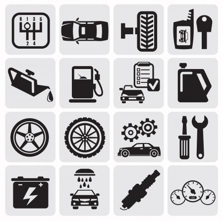 garage automobile: Icônes de voitures Auto Illustration